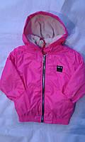 Куртка ветровка на флисе для девочки 6-10 лет розового цвета с капюшоном оптом