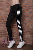 """Женские спортивные лосины """"CrossFit"""" с полосками, черные"""