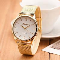 """Женские наручные часы """"Geneva Quartz"""" на золотом браслете с белым циферблатом (кварцевые)"""