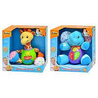 Детская развивающая музыкальная игрушка Микс H 6701 NL, 2 вида (жираф, слон) муз, свет, на бат-ке