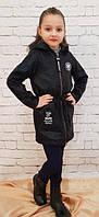 Пальто с капюшоном черное на девочку  р. 128-146, фото 1
