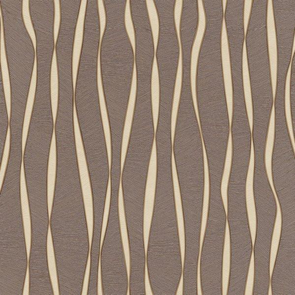 Обои бумажные Континент Акцент  коричневый фон бежевые полосы с золотом 1345