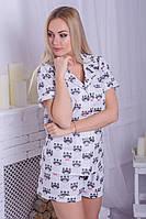 Хлопковая пижама женская еноты П401, фото 1