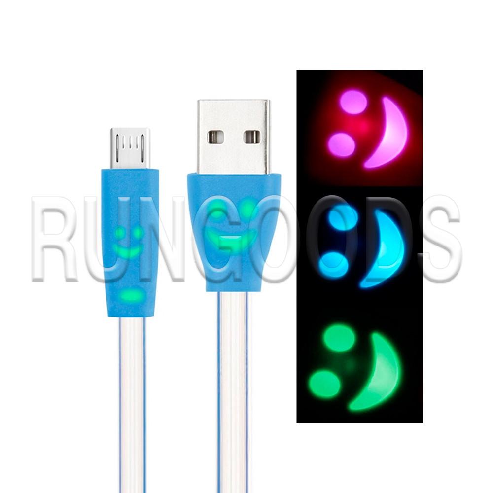 Кабель USB-micro USB 1м светящийся на основании