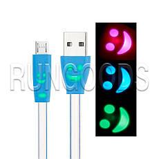 Кабель USB-micro USB 1м светящийся плоский, фото 3