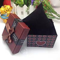 Подарочная коробка для часов с сердечками - коричневая