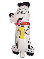 """Фольгированный шар Цифра """"1"""", Собачка, высота 50 см"""