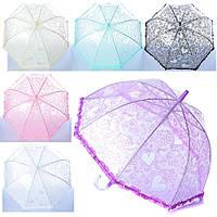 Зонтик детский MK 0869  длина 55см,трость70см, диам. 69см, спица 49см, клеенка, 6цветов,в кульке
