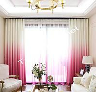 Тюль двуцветный розовый с белым