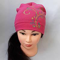 Детская трикотажная шапка с рисунком для девочки р 44-48 оптом