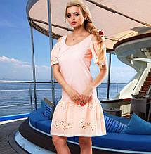 Модное персиковое летнее платье Д-096