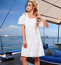 Модное белое летнее платье Д-095