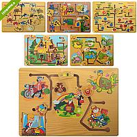 Развивающая Деревянная Игрушка Лабиринт MD 0967 в ассортименте, Детский Лабиринт 0967 деревянный