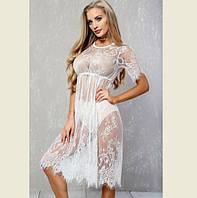 Гипюровое пляжное платье белое Д-094