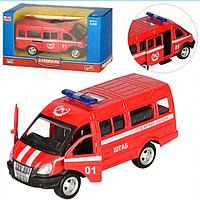 Детская Металлическая Машинка 6404 E Пожарная Газель 01, Инерционная машина Пожарная 6404 E