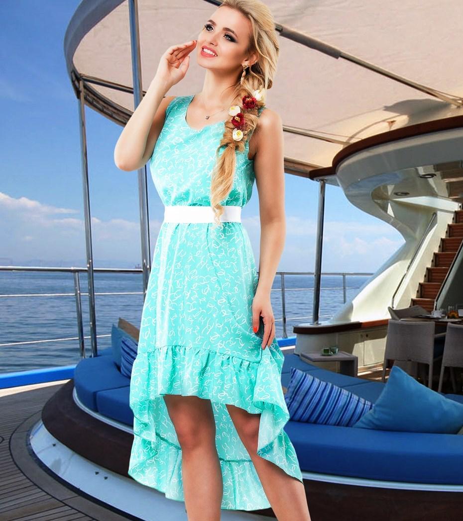 Оригинальное голубое летнее платье Д-092