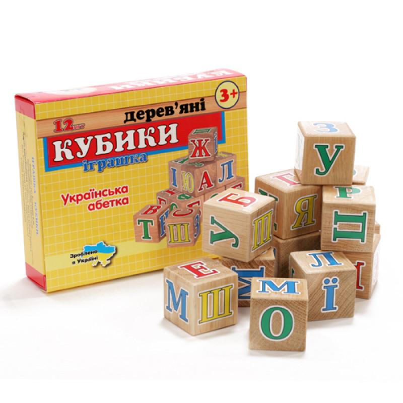 Дерев'яні кубики українська абетка ДК 3101 в коробці