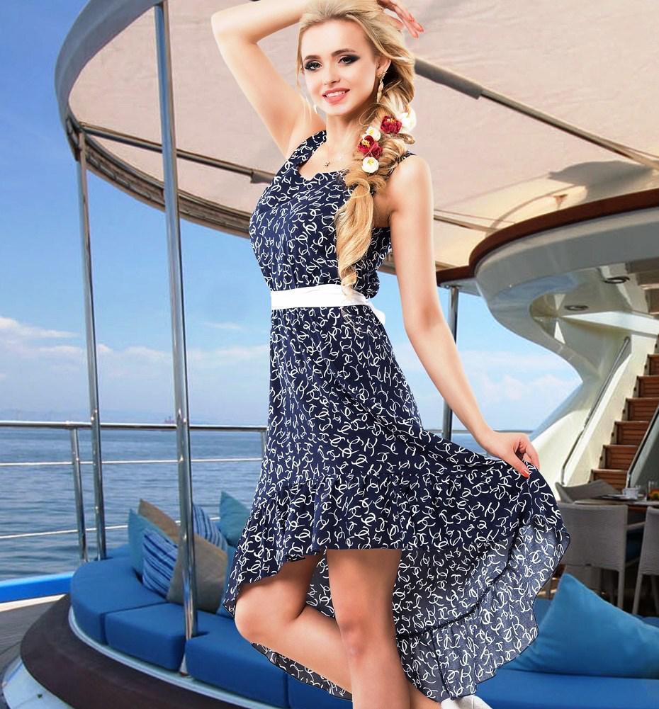 Оригинальное синее летнее платье Д-091