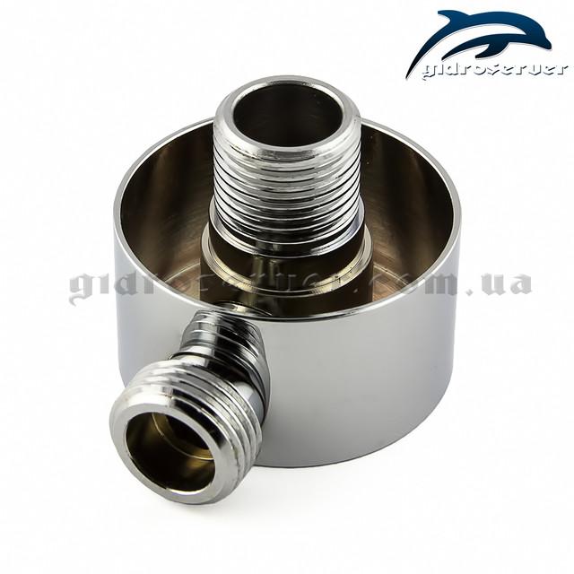 Шланговое подсоединение для душевой лейки UD-10 хромированное, круглой формы.