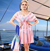 Пляжная туника из сетки вискоза розовая Д-090