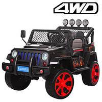Детский электромобиль Джип M 3237 EBLR-2-3, 4 мотора, 2 аккумулятора, мягкие колеса и кожаное сиденье