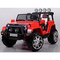 Детский двухместный полноприводный электромобиль Джип 4*4 M 3572 EBLR-3, кожаное сиденье и мягкие колеса
