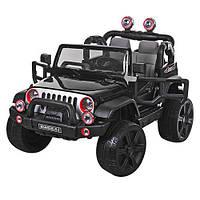 Детский двухместный электромобиль Джип Jeep M 3469 EBLR-2 черный, мягкие колеса и кожаное сиденье