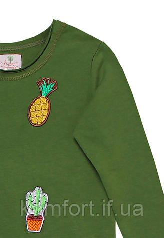 Платье для девочки с аппликацией зеленое, фото 2