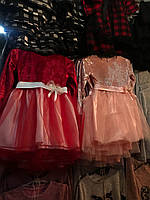 Платье для девочки велюровое с юбочкой красное