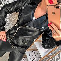 Куртка черная косая молния