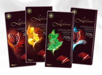 Шоколад черный Luximo Premium с мятой 70 % какао Польша 100г.