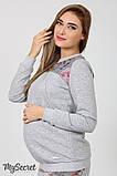Спортивный костюм для беременных и кормящих SPК-37.042, цветы на сером меланже, фото 4