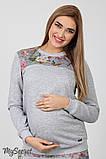 Спортивный костюм для беременных и кормящих SPК-37.042, цветы на сером меланже, фото 2