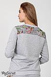 Спортивный костюм для беременных и кормящих SPК-37.042, цветы на сером меланже, фото 5
