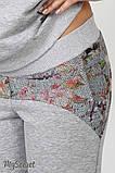 Спортивный костюм для беременных и кормящих SPК-37.042, цветы на сером меланже, фото 9