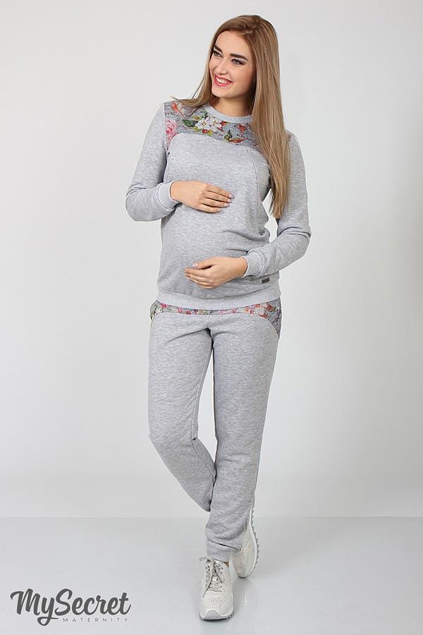 Спортивный костюм для беременных и кормящих SPК-37.042, цветы на сером меланже