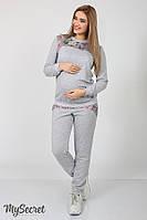 Спортивный костюм для беременных и кормящих, цветы на сером меланже