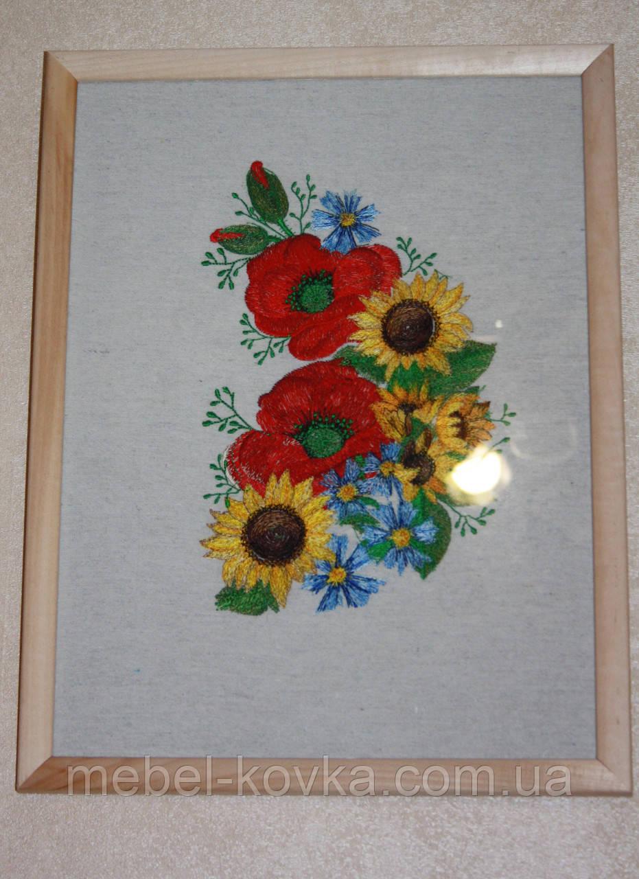 Картина машинная вышивка с маками,подсолнухами и васильками