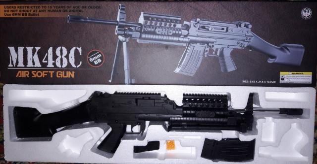 Игрушечное оружие Пневматический ручной пулемет MK 48 C реплика Mark 48 Бельгия