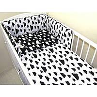 Детское постельное белье для новорожденных в кроватку Хатка 6 в 1 Облака бело-черный