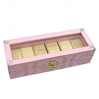 Шкатулка для хранения часов деревянная розовая