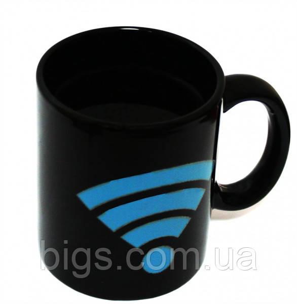 Чашка хамелеон Wi Fi 380 мл черная ( Оригинальный подарок )