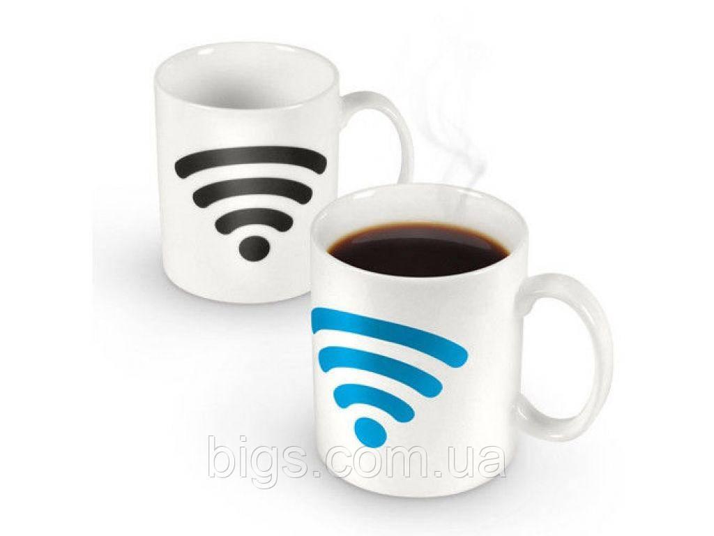 Чашка хамелеон Wi Fi 380 мл белая ( Оригинальный подарок )