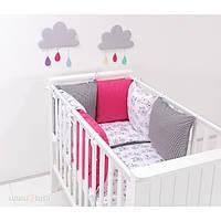 Детский постельный комплект в кроватку 9 в 1 Велосипеды с розовым