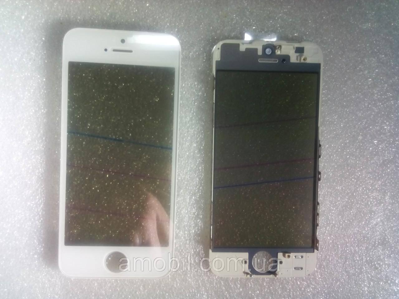 Стекло с дисплейной рамкой , OCA плёнкой и поляризационной плёнкой для iPhone 5 белое