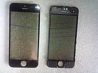 Стекло с дисплейной рамкой , OCA плёнкой и поляризационной плёнкой для iPhone 5 чёрное