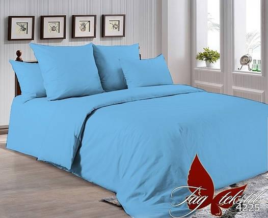 Евро комплект однотонного постельного белья Голубой, Поплин, фото 2