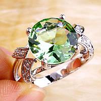 Кольцо с зеленым аметистом в серебре. Кольцо с аметистом., фото 1