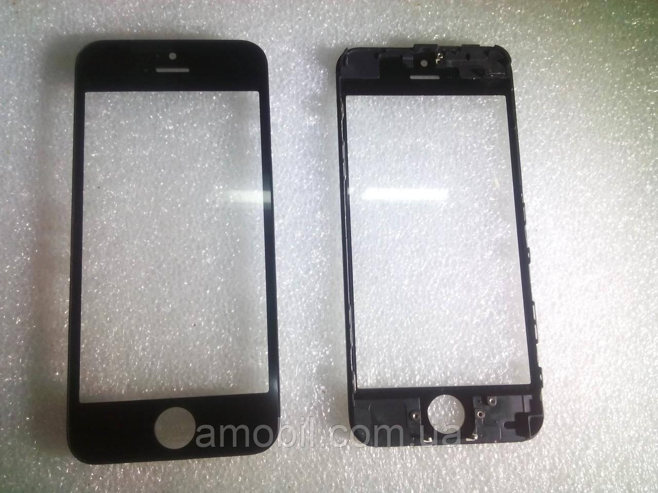 Стекло с дисплейной рамкой и OCA плёнкой для iPhone 5 чёрное orig