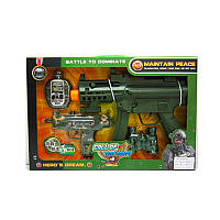 Детский игрушечный набор военного 161C, автомат-звук, свет, пистолет, бинокль, фляга, на бат-ке, в кор-ке,